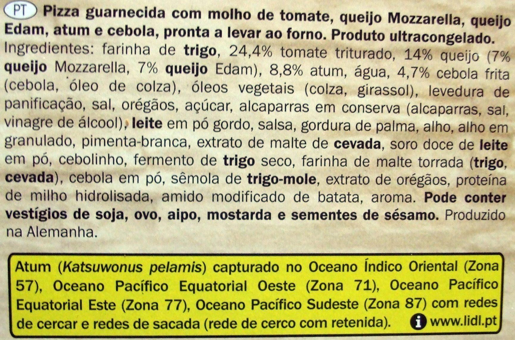Pizza Deliziosa Tonno - Ingredientes - pt