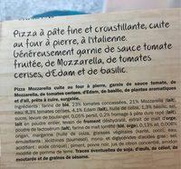Pizza Mozzarella cuite sur pierre - Ingrédients - fr