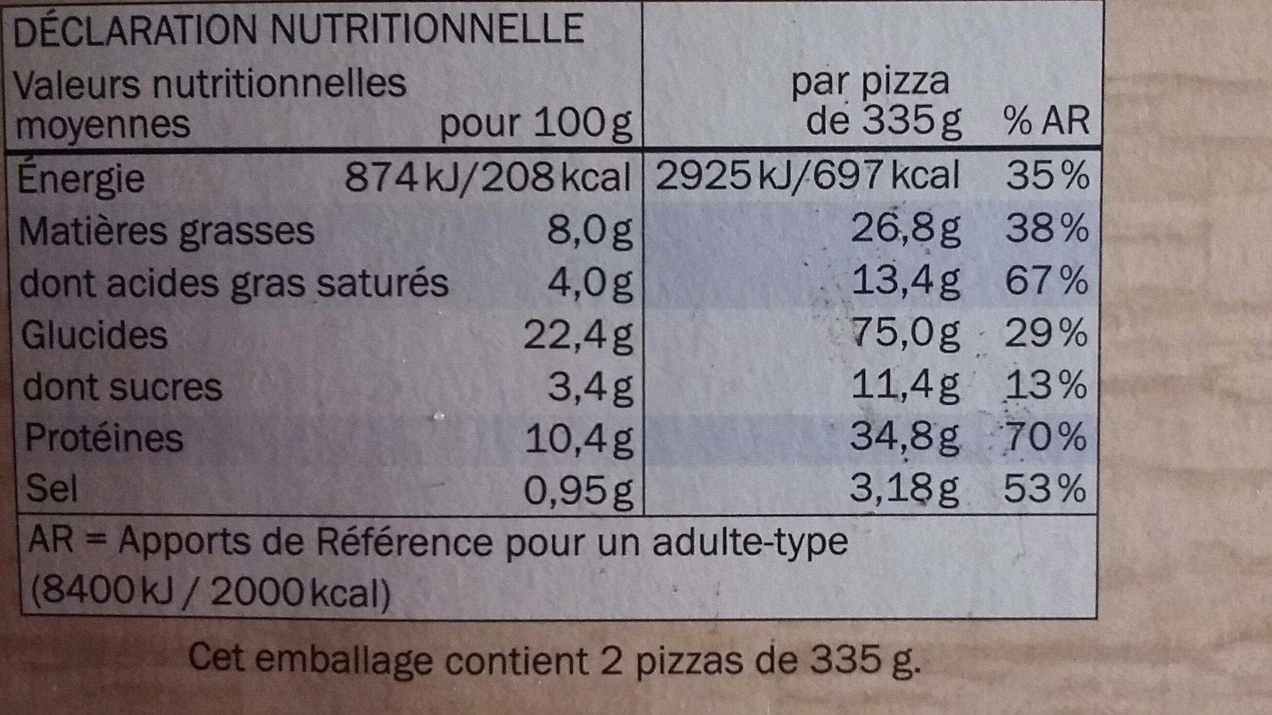 Pizza Mozzarella cuite sur pierre - Informations nutritionnelles - fr