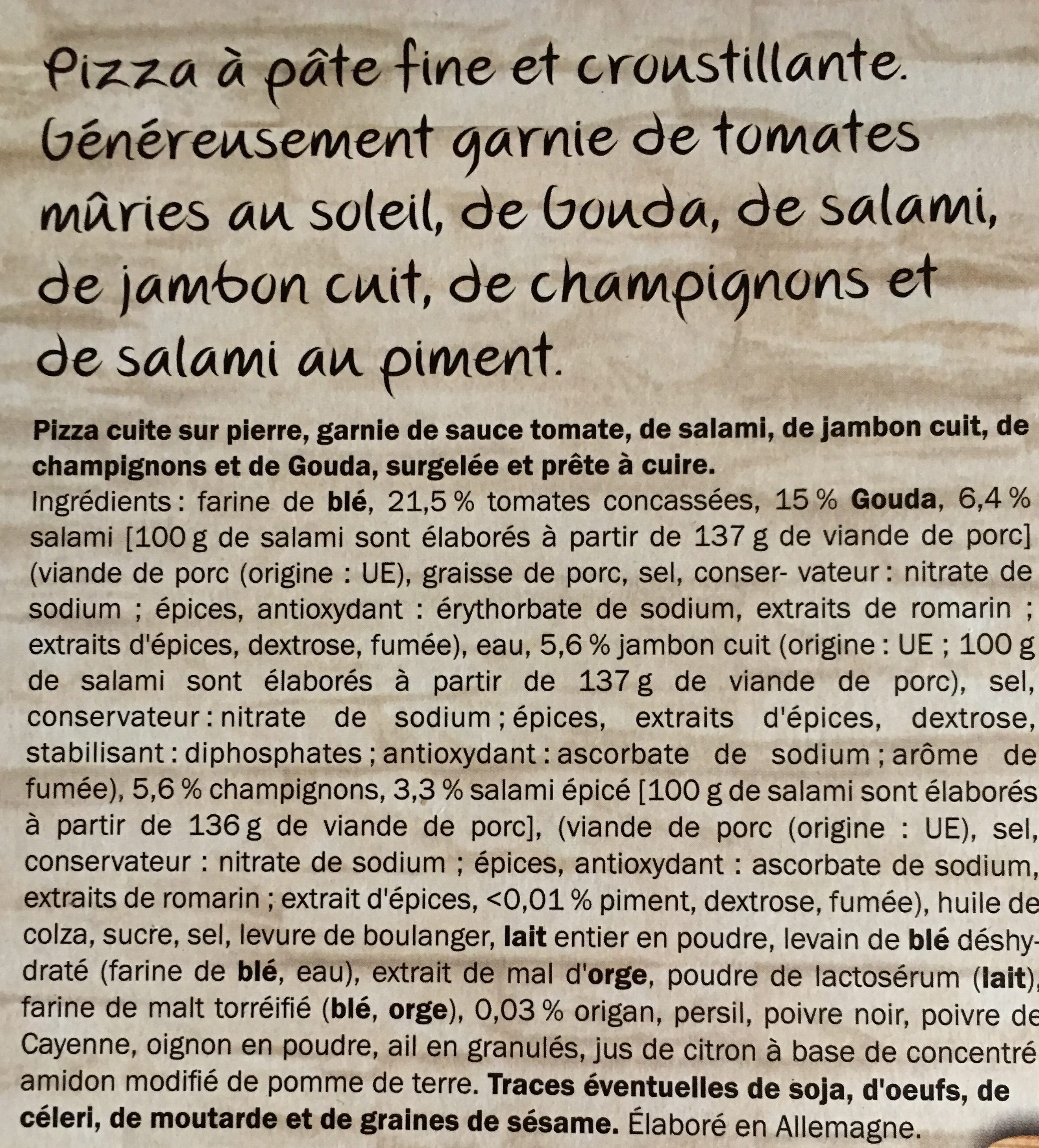 Deliziosa Speciale - Ingrédients - fr
