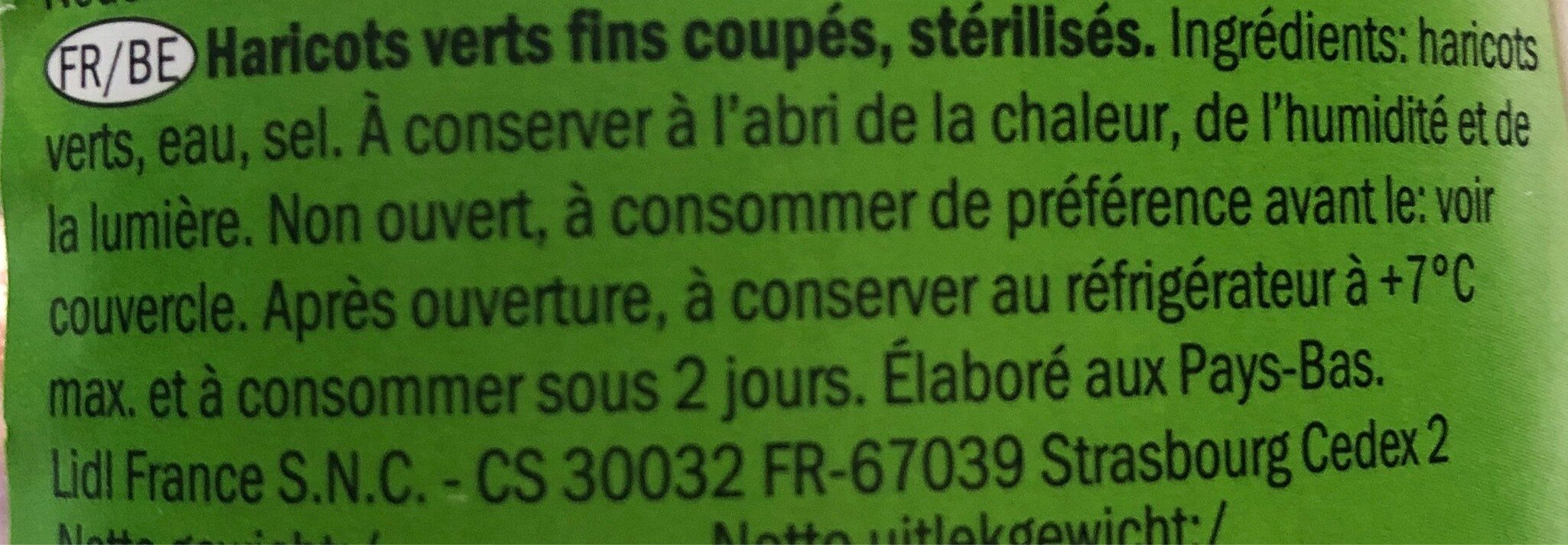 Haricots verts Freshona - Ingrediënten - fr