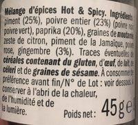 Hot & spicy - Ingredientes - fr
