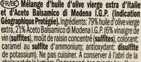 Olivenöl mit Balsamico / Huile d'olive Balsamico 125 ml - Ingrédients