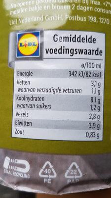 erwerten soep - Nutrition facts - nl