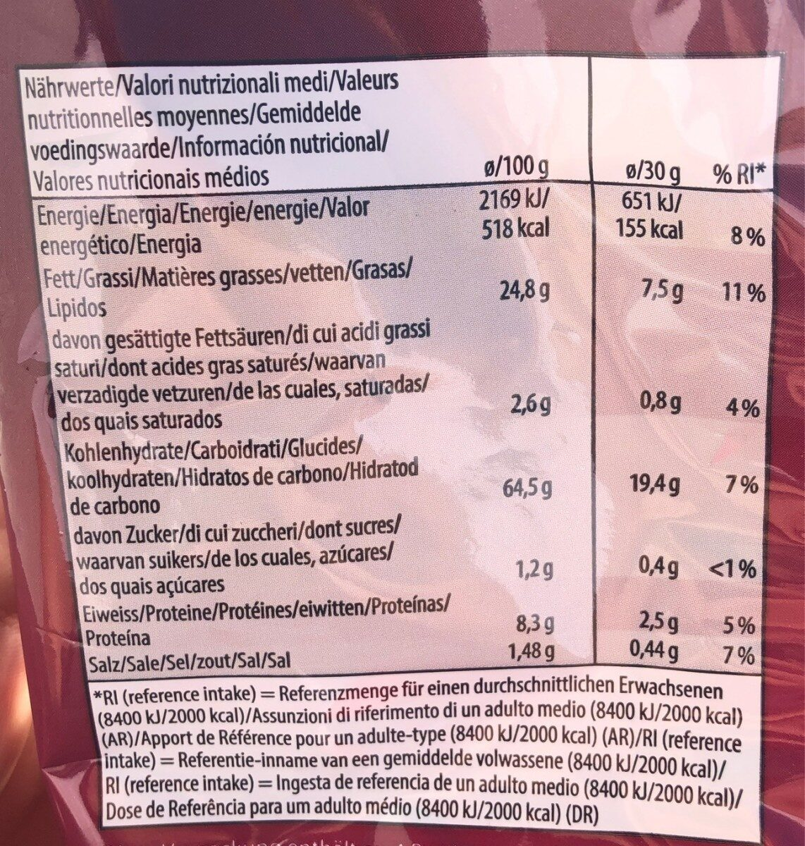 Bacon Flavour Snack - Nutrition facts - fr