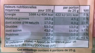 Mélange de fruits séché - Informations nutritionnelles - fr