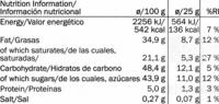Chocolate negro con jengibre y limón 60% cacao - Nutrition facts - en