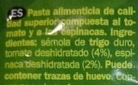 Letras tricolor - Ingrédients - es