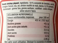 Tomato Ketchup piquant - Valori nutrizionali - fr