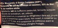 Mozzarella di Bufala Campana - Ingrédients - fr