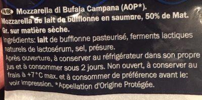 Kerst: Mozzarella Di Bufala Campana Dop Zakje 125 Gram (deluxe) - Ingredientes - fr