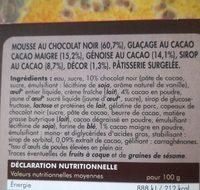 Entremet chocolat noir surgelé - Ingrédients