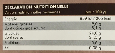 Entremet chocolat noir surgelé - Informations nutritionnelles