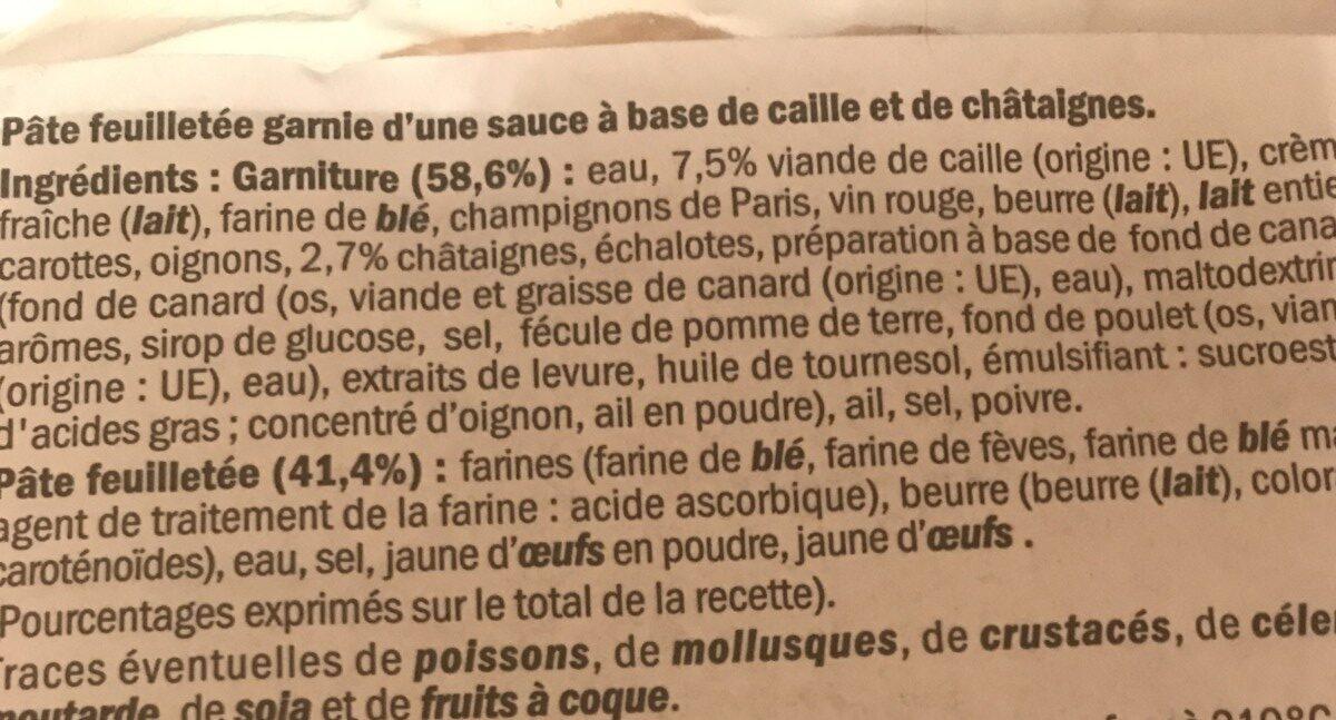 Feuilleté De caille aux chataignes - Ingrédients