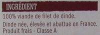 2 Escalopes de Dinde Extra-Fines - Ingredients