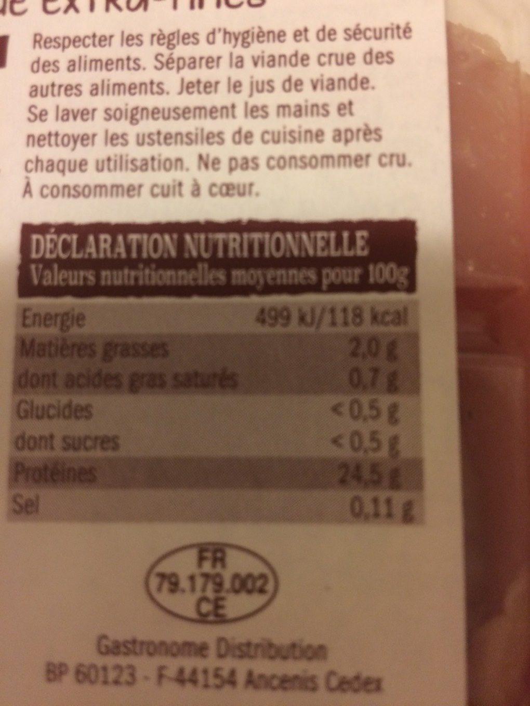 2 escalopes de dinde extra-fines - Informations nutritionnelles - fr