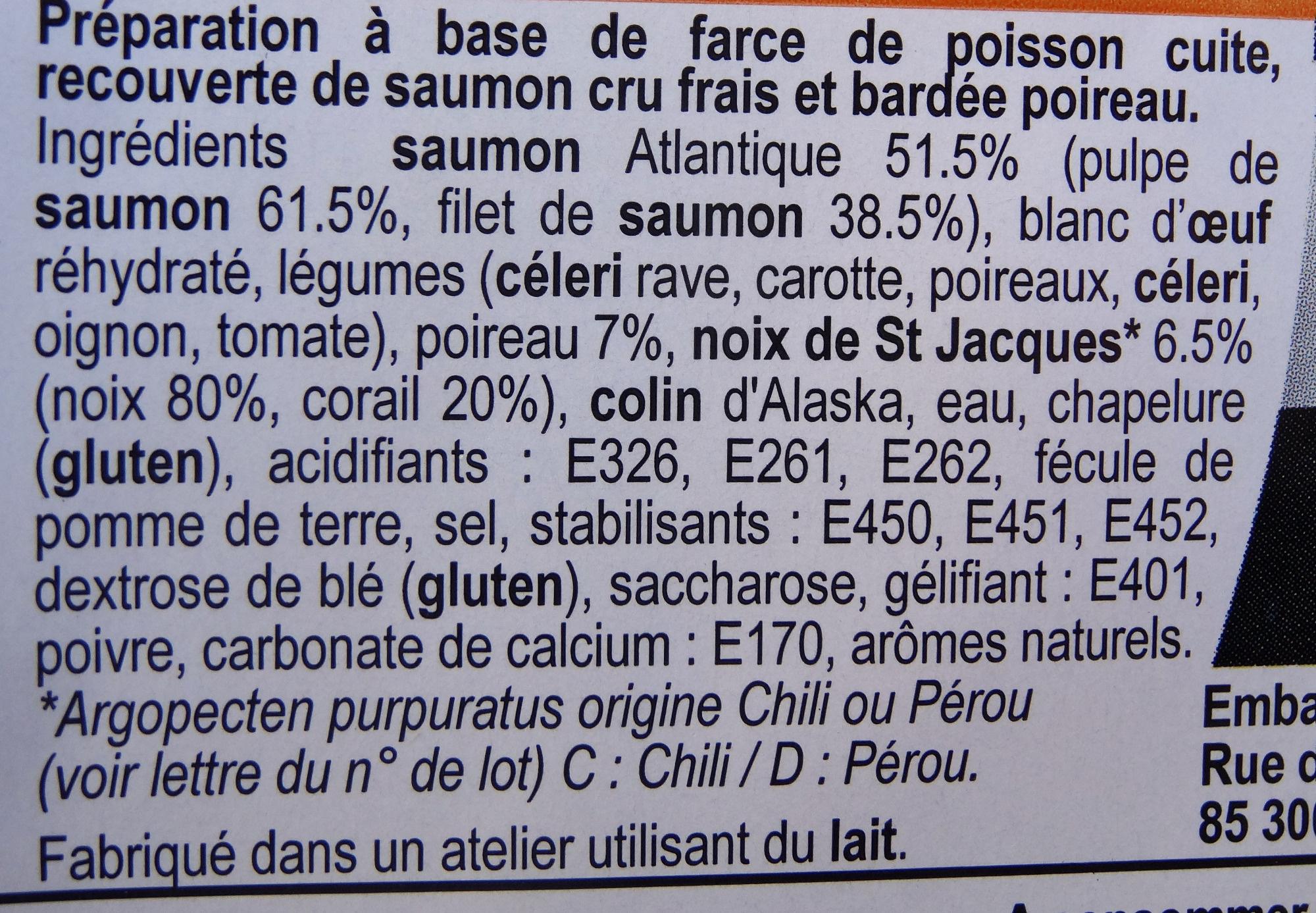 Paupiettes saumon-st jacques-poireau - Ingrédients - fr