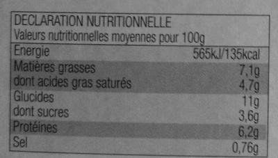 Parmentier de Poisson - Informations nutritionnelles - fr