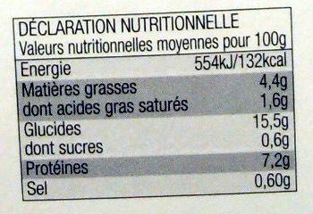 Saumon à l'Oseille & riz Basmati - Informations nutritionnelles - fr