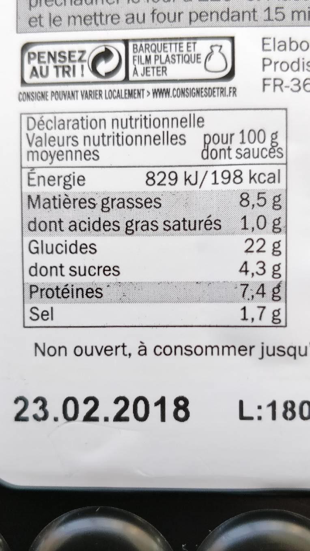 Plateau mandarin - Nutrition facts - fr