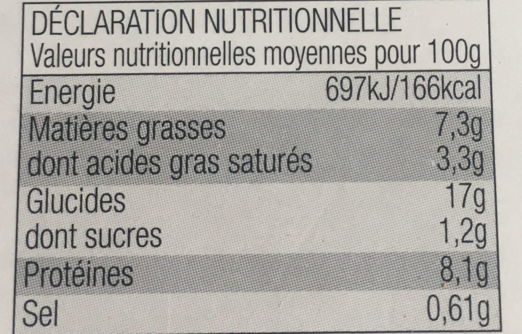 Coquillettes jambon et Emmental - Voedingswaarden - fr