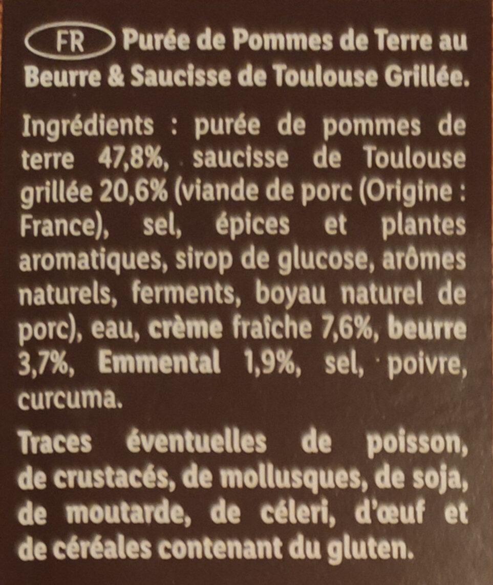 Saucisse de Toulouse grillée & purée de pommes de terre - Ingredients - fr
