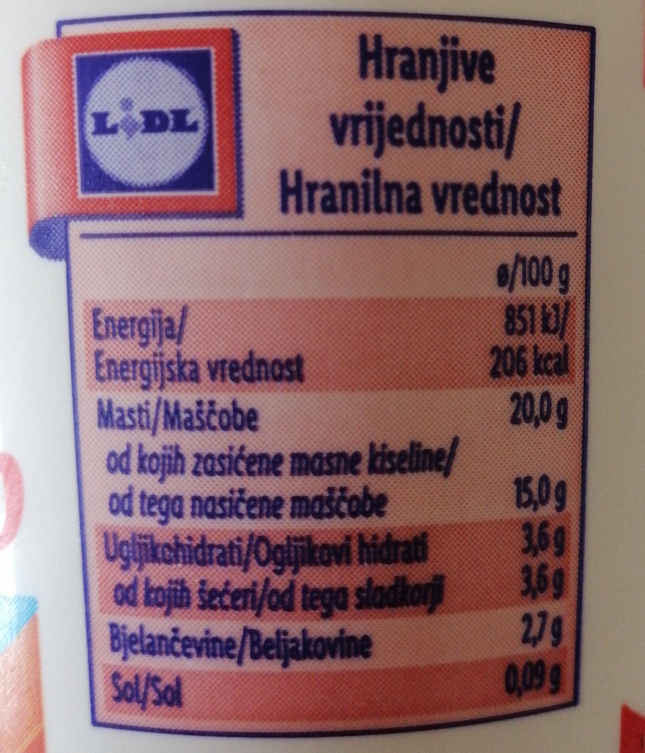 Kisla smetana 20% - Informação nutricional - sl