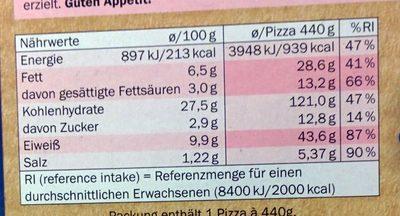American Pizza Supreme - Informations nutritionnelles