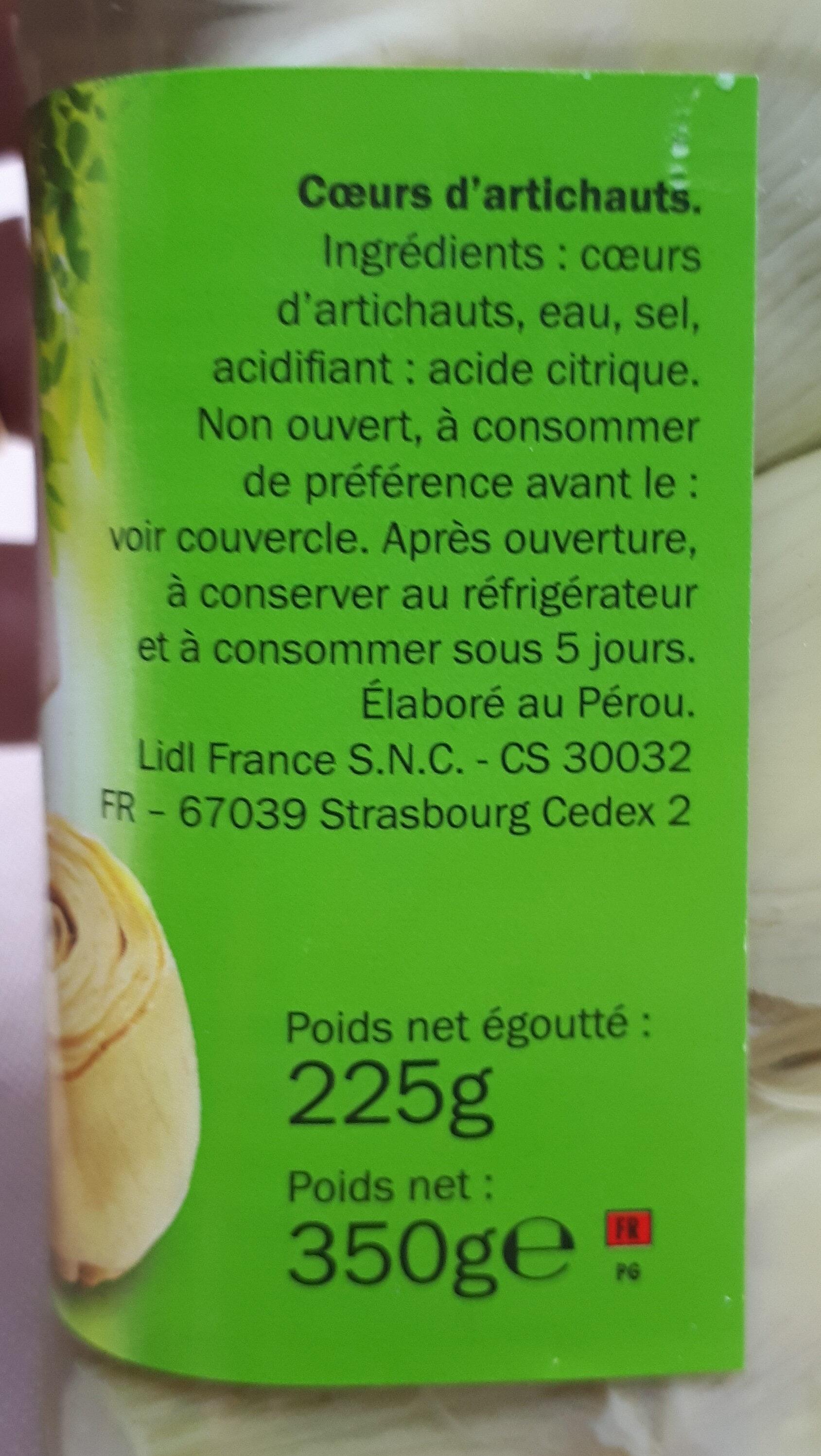 Coeurs d'artichauts 6-8 coeurs - Ingrediënten
