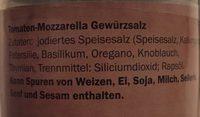 Kania Tomaten mozzarella Gewürzsalz - Inhaltsstoffe