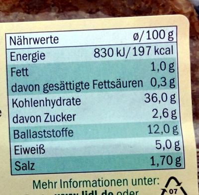 Vollkorn Canapés - Nutrition facts - de