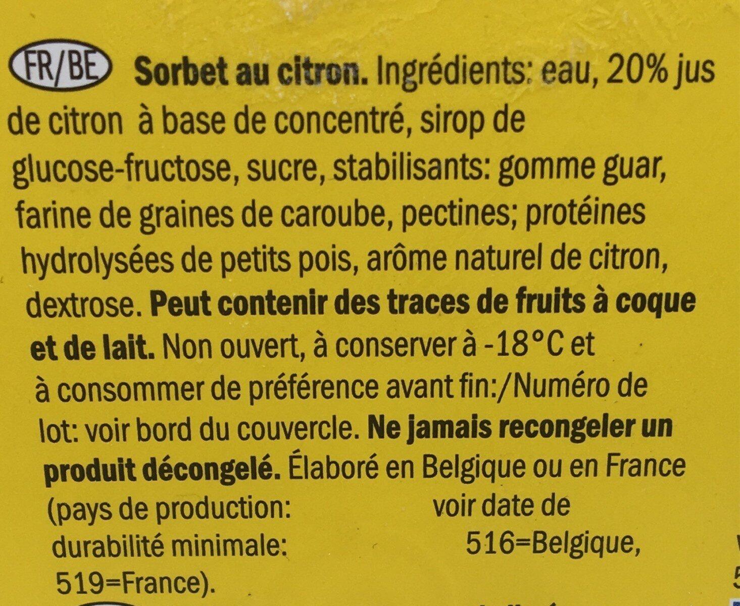 Lemon Sorbet - Ingrédients - fr