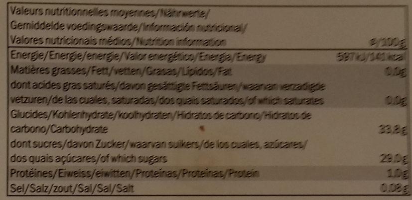 Sorbet passion fruit - Informations nutritionnelles - de