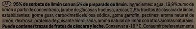 Sorbet au citron - Ingredientes
