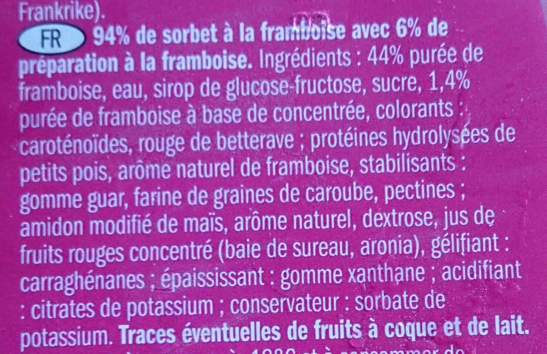 Sorbet a la framboise - Ingrédients - fr