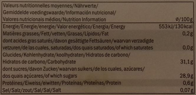 Premium Mango Sorbet - Información nutricional