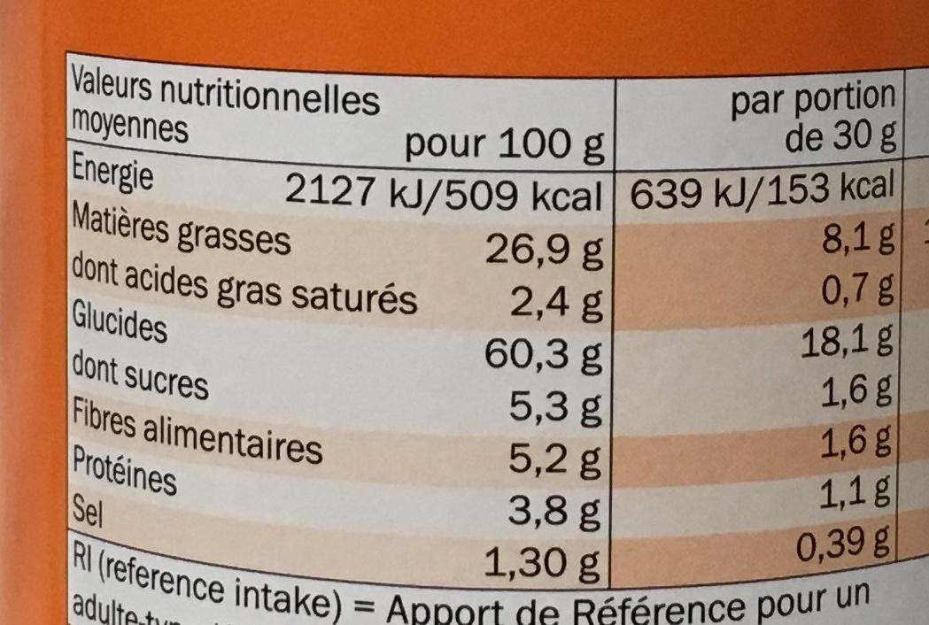 Tuiles à base de pommes de terre goût paprika - Voedigswaarden