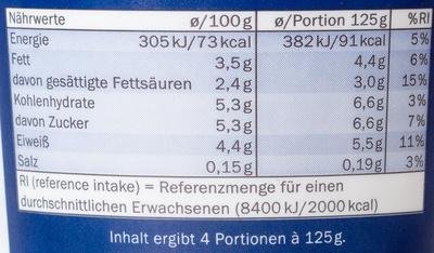 Joghurt mild 3,5% Fett - Voedigswaarden