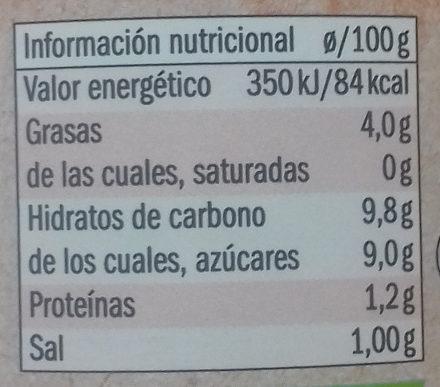 Tomate frito  bio organic - Información nutricional - es