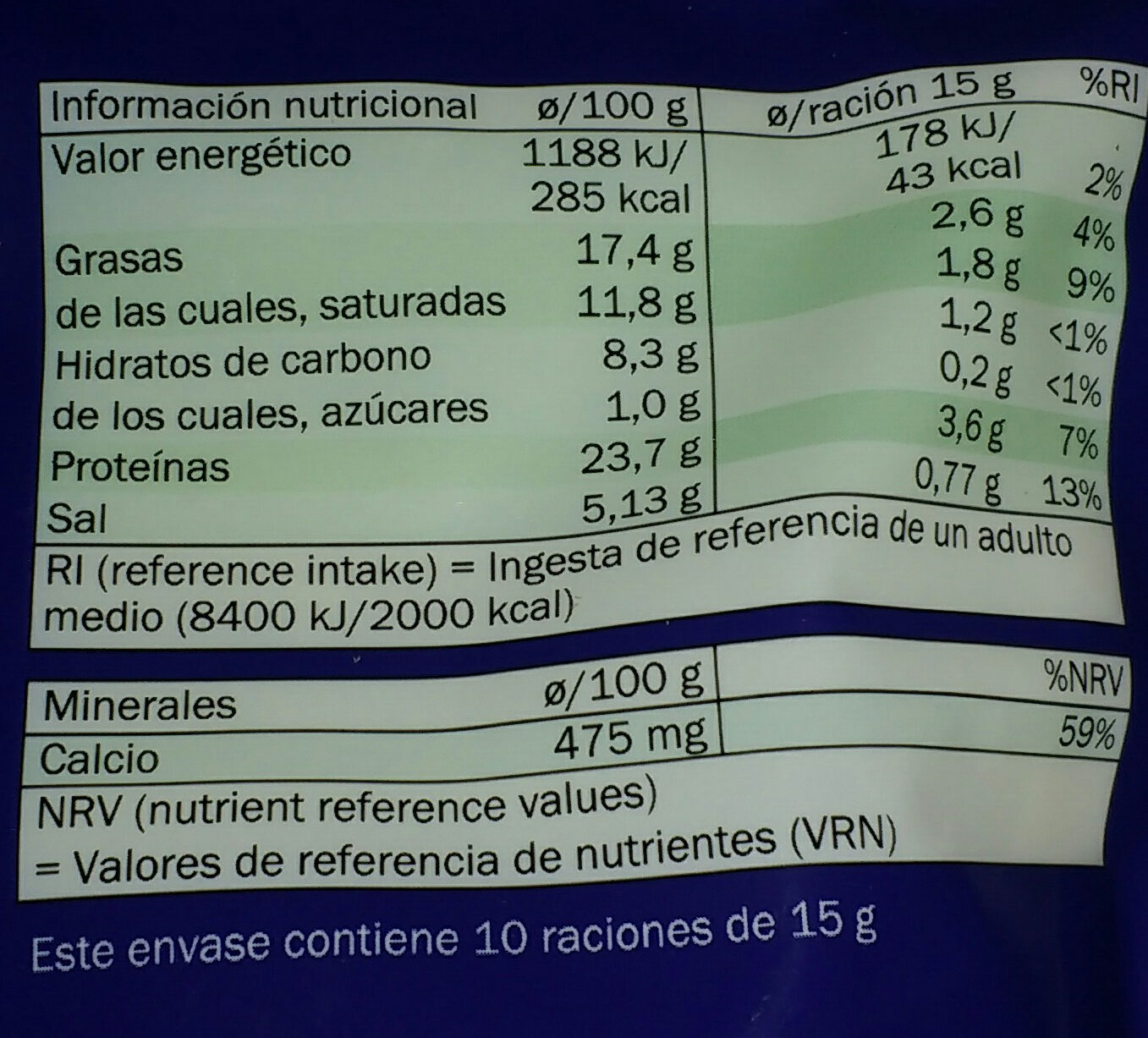 Polvo especial pasta - Informations nutritionnelles