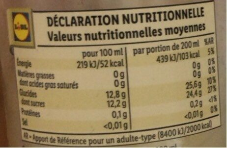 Limonada - Información nutricional - es
