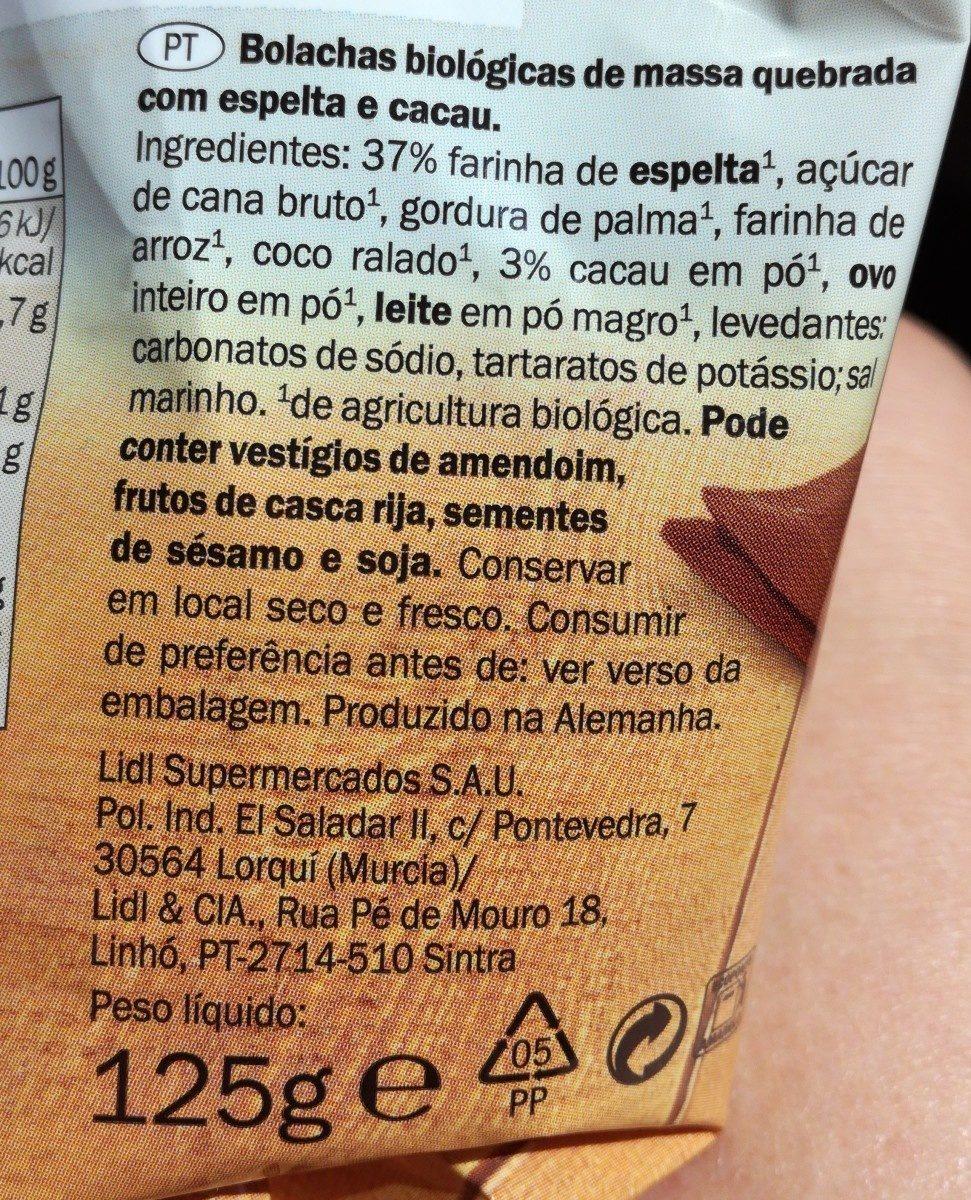 Galletas Espelta Cacao - Ingredients - es