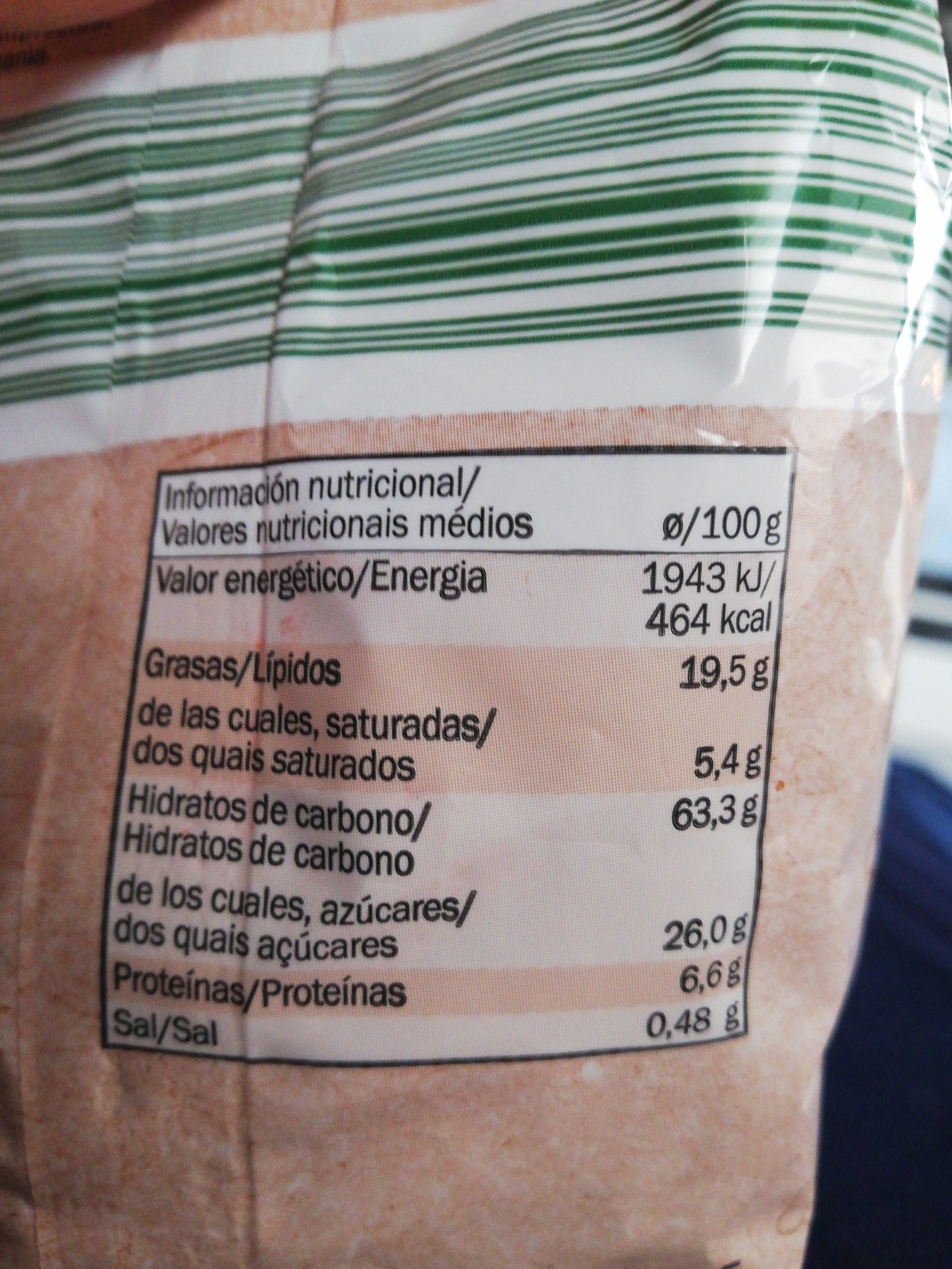 Galletas Espelta Cacao - Informació nutricional - es