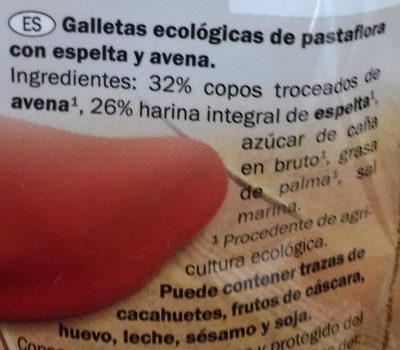 Galletas ecológicas de espelta con avena - Ingredients