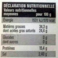 Le Bleu Fondant - Informação nutricional - fr