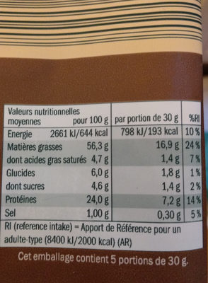 Amandes - Nutrition facts - fr