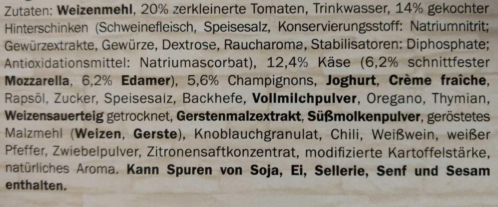 Pizza Deliziosa Schinken-Champignon - Ingrédients - de