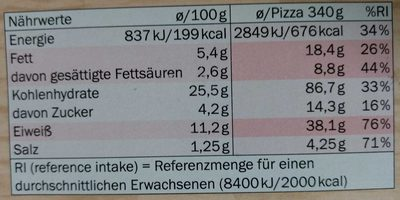 Pizza Deliziosa Schinken-Champignon - Informations nutritionnelles - de
