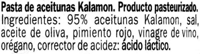 Paté de aceitunas Kalamon - Ingredients - es