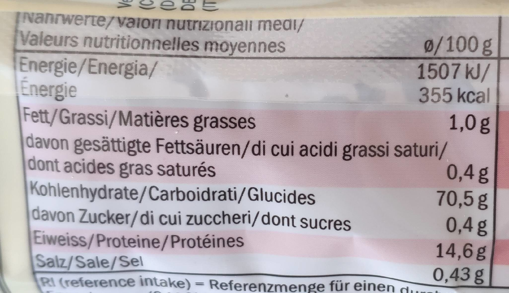 Soba noodles - Valori nutrizionali - fr